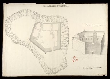 Plan of Castle Tyrholme [i.e. Tioram] [between 1712 and 1716] [copy] 1741 : view of Castle Tyrholme on the sides C, A, B [1 of 1]