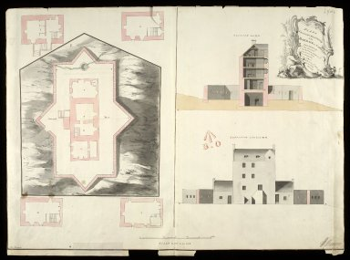 Plans section and elevation of the barrack at Cargarff [i.e. Corgarff] [1 of 1]
