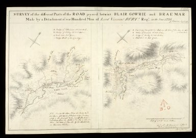 Survey of the different Parts of the Road joyned betwixt Blair Gowrie and Braemar; Made by a Detachment of one Hundred Men of Lord Viscount Bury's Regt. in the Year 1750 [1 of 1]