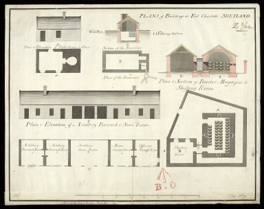 Plan of buildings at Fort Charlotte, Shetland [1 of 1]
