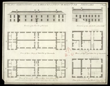 Plans & elevations of the barracks at Fort Charlotte, Shetland [1 of 1]