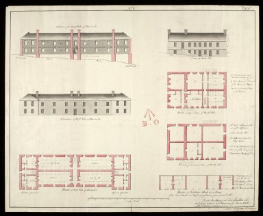 [Plans, elevations and sections of the north pile of barracks, the west pile of barracks, and the artillery shed, at Fort Charlotte, Lerwick, Shetland] No. 3 [1 of 1]