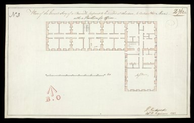 Plan of the ground story [sic] of a barrack, proposed to be erected at Aberdeen : to contain 360 men, with a pavillion for officers No. 3 [1 of 1]