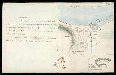 Sketch of the Harbour, Town & Battery of Arbroath [with report] [1 of 1]