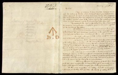 [Letter containing report on Dunbar battery with sketches] [1 of 2]