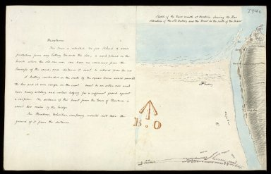 Sketch of the River mouth at Montrose shewing the Bar Situation of the old Battery and the Point on the south of the River [with report] [1 of 1]