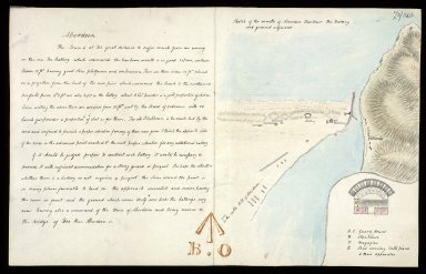 Sketch of the mouth of Aberdeen Harbour the Battery and ground adjacent [with report] [1 of 1]