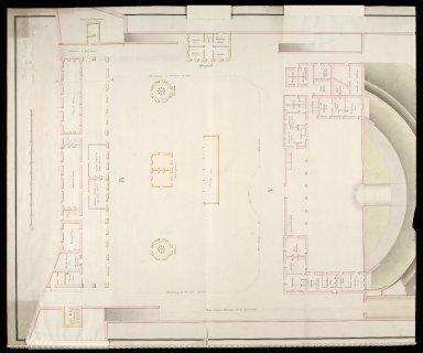 [Leith Battery; plan of] officers barracks, mens barracks, hospital, proposed magazine and kitchens, and wash Houses [2 of 3]