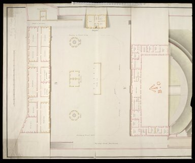 [Leith Battery; plan of] officers barracks, mens barracks, hospital, proposed magazine and kitchens, and wash Houses [1 of 3]