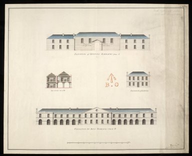 [Leith Battery] elevation of officers barracks from A : elevation of mens barracks from B; elevation of hospital; section on AB [1 of 2]