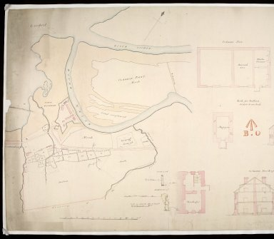 [Map of area around Fort William showing] boundary of the Crown lands : plans, elevations and sections of ordnance store and magazine; table of reference [showing] nature of the encroachment, how occupied, occupiers name, and rent & to whom paid [1 of 2]