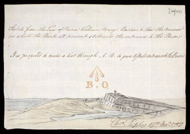 Sketch from the Face of Prince William Henrys Bastion, to Shew the Manner in which the Bank at present obstructs the entrance to the bason [Fort George, Ardersier] [1 of 1]