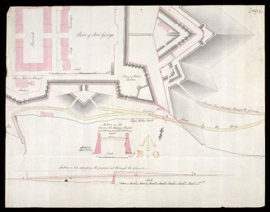[Plan of Fort George, Ardersier, showing] Present Road leadng Through the Gancion [and] Proposed Road to the Ferry [1 of 1]