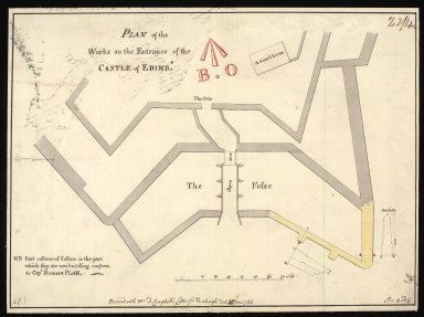 Plan of the works on the entrance of the castle of Edinbo. [1 of 1]