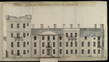 Front of Alloa house towards the Parter, as it nowis, wt a fronton raised in the middle [1 of 2]