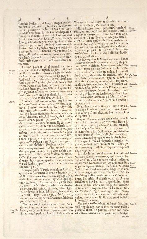 EXTIMA SCOTIAE SEPTENTRIONALIS ORA, ubi Provinciae sunt ROSSIA, SVTHERLANDIA, CATHNESIA, STRATH-NAVERNIAE, [3 of 3]