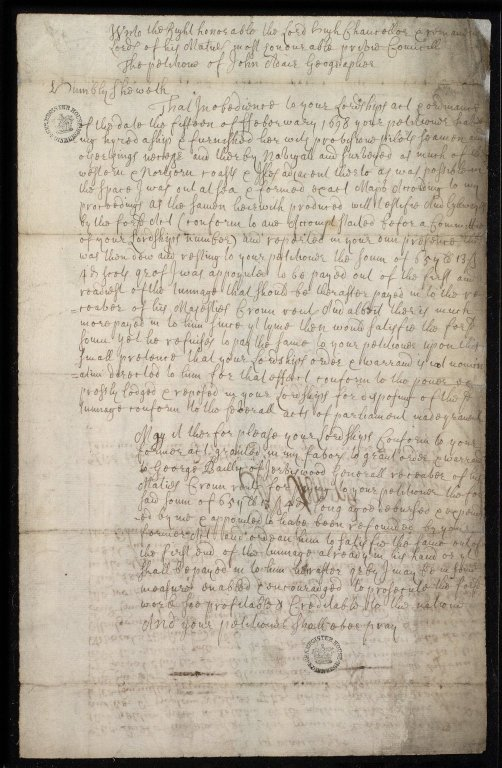 [Petition of John Adair to the Privy Council, March? 1700, payments due for surveys performed] [1 of 2]