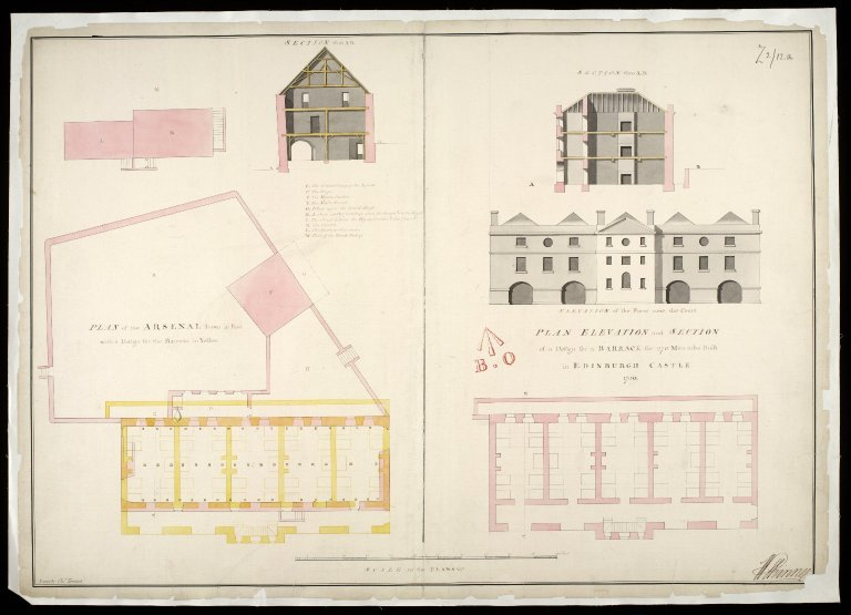 Plan, elevation and section of a design for a barrack for 270 men : to be built in Edinburgh Castle, 1750 [1 of 1]