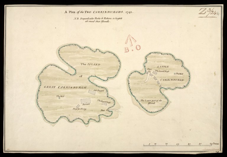 A Plan of the Two Carrinburghs [i.e. Cairn na Burgh] [between 1710 and 1720] [copy] 1741 [1 of 1]