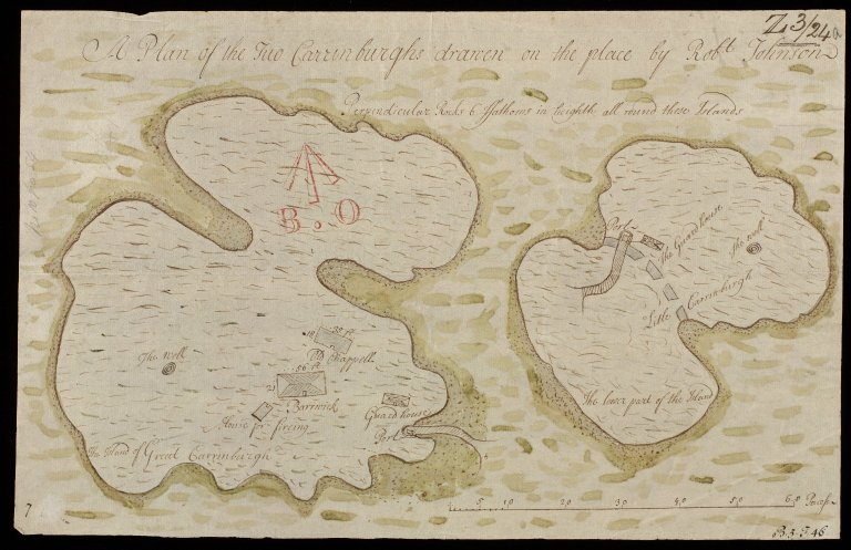 A Plan of the Two Carrinburghs [i.e. Cairn na Burgh] [1 of 1]