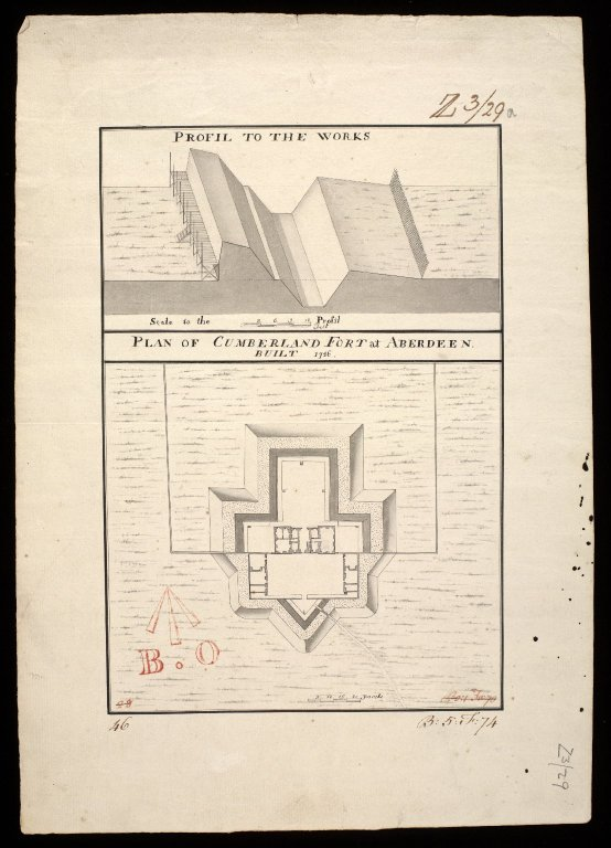 Plan of Cumberland Fort at Aberdeen built 1746 : profil to the works. [1 of 1]