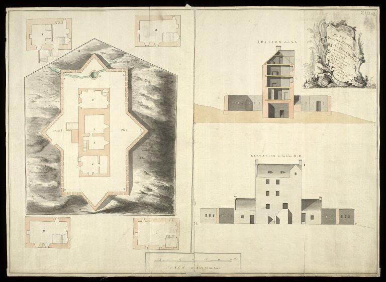 Plans section and elevation of the barrack at Cargarff [i.e. Corgarff] [1750] [copy] [1 of 1]