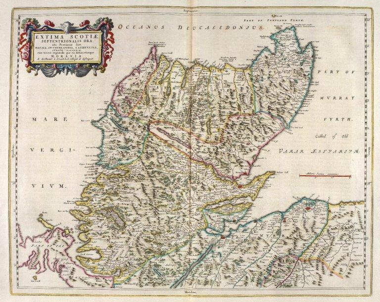 Extima Scotiae Septentrionalis Ora, ubi Provinciae sunt Rossia, Sutherlandia, Cathenesia, Strath-Naverniae, cum vicinis regiunculis quae eis subsunt, etiamque Moravia. [1 of 1]