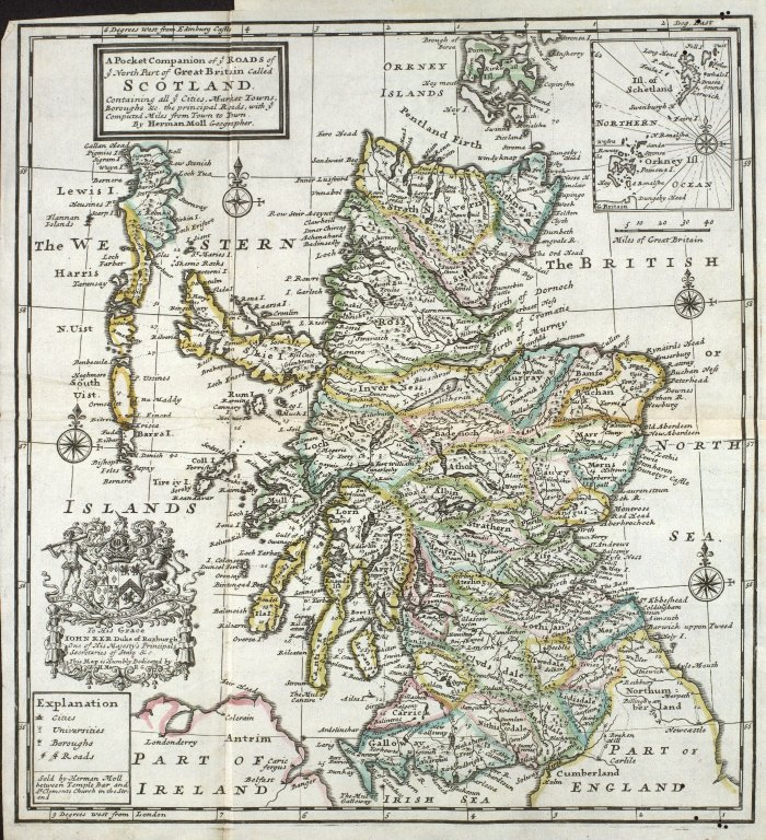 A Pocket Companion of ye Roads of / ye North Part of Great Britain Called / Scotland. [1 of 1]