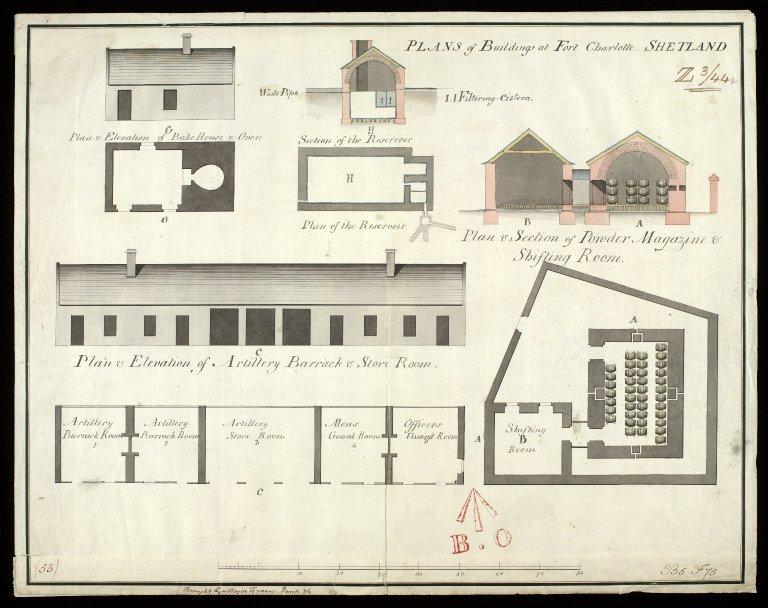 Plan of buildings at Fort Charlotte, Shetland [1 of 1]