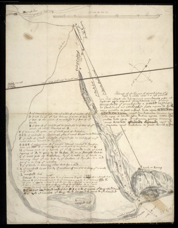 Map of the marches between Newhal & Brunston as they go from ye foot of ye coalsyke to monksburn [1 of 1]