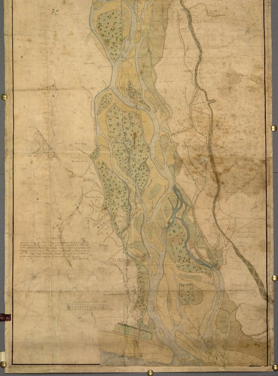 General Mapp of the River Spey from the Reid=rock above the Boat att Focober downward to the Sea [...] [1 of 2]