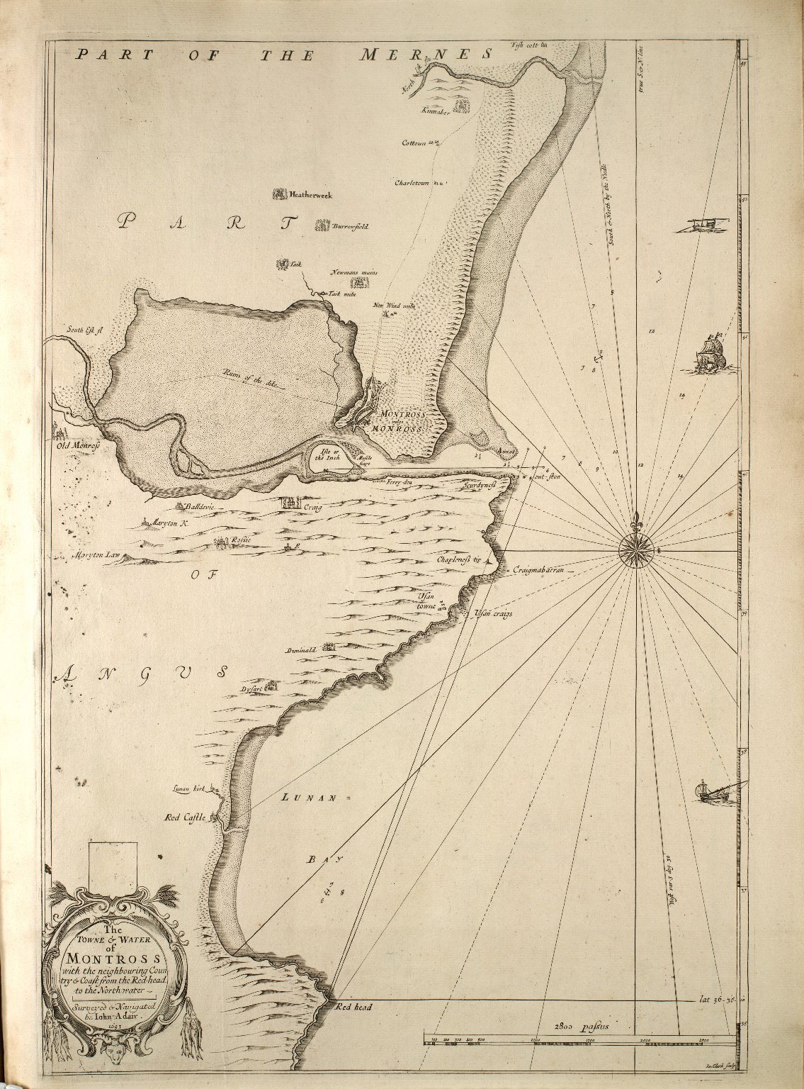The Towne & Water of Montross with the neighbouring Country & Coast from the Red-head to the North-water. [1 of 1]