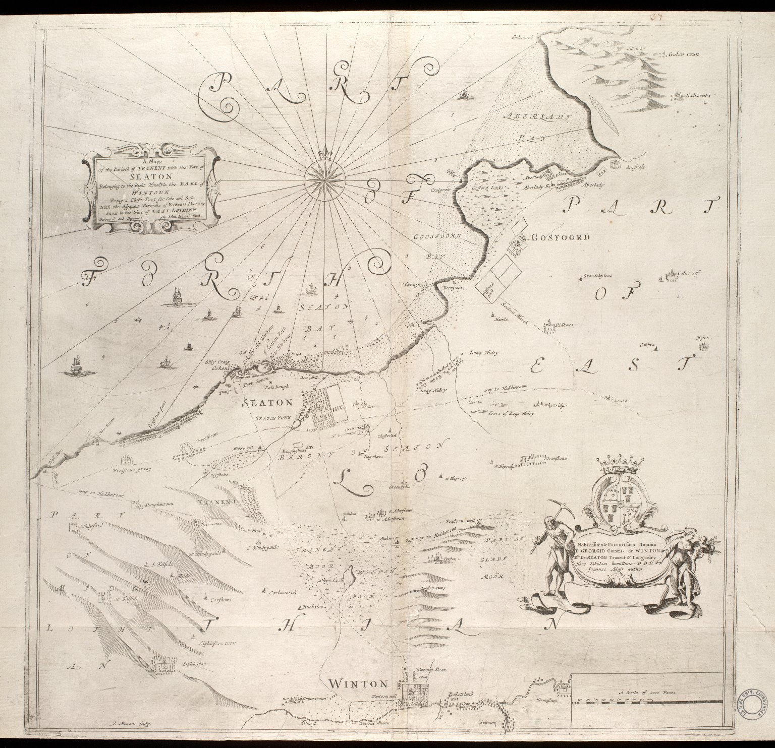 A mapp of the parioch of Tranent with the port of Seaton belonging to the Right Honorable the Earl of Wintoun [1 of 1]