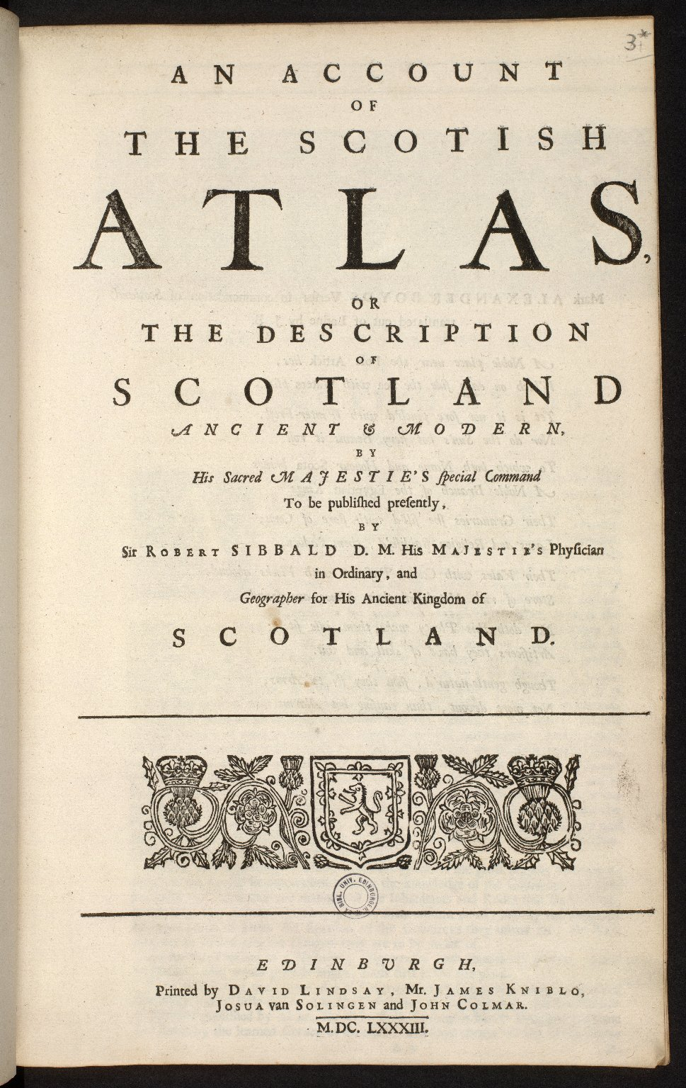 An account of the Scottish atlas or the description of Scotland ancient and modern. [01 of 13]