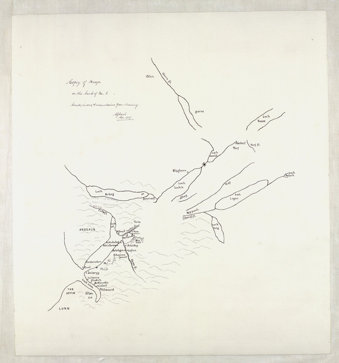[A detailed map including Glenmore, Lochs Arkaig and Garry, the basins of the Nairn, Findhorn, and Spey, Lochs Ericht and Laggan, and the River Spean; also in outline Lochs Garry, Rannoch, and Tummel. [3 of 4]