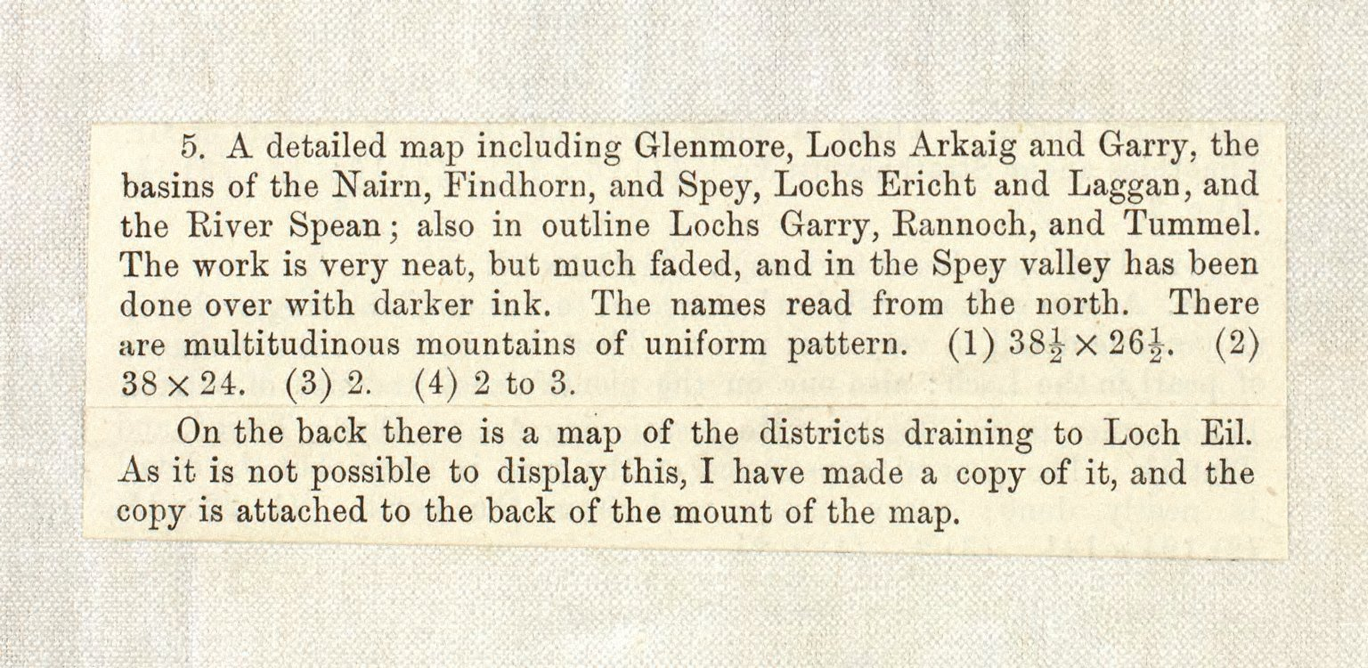 [A detailed map including Glenmore, Lochs Arkaig and Garry, the basins of the Nairn, Findhorn, and Spey, Lochs Ericht and Laggan, and the River Spean; also in outline Lochs Garry, Rannoch, and Tummel. [4 of 4]