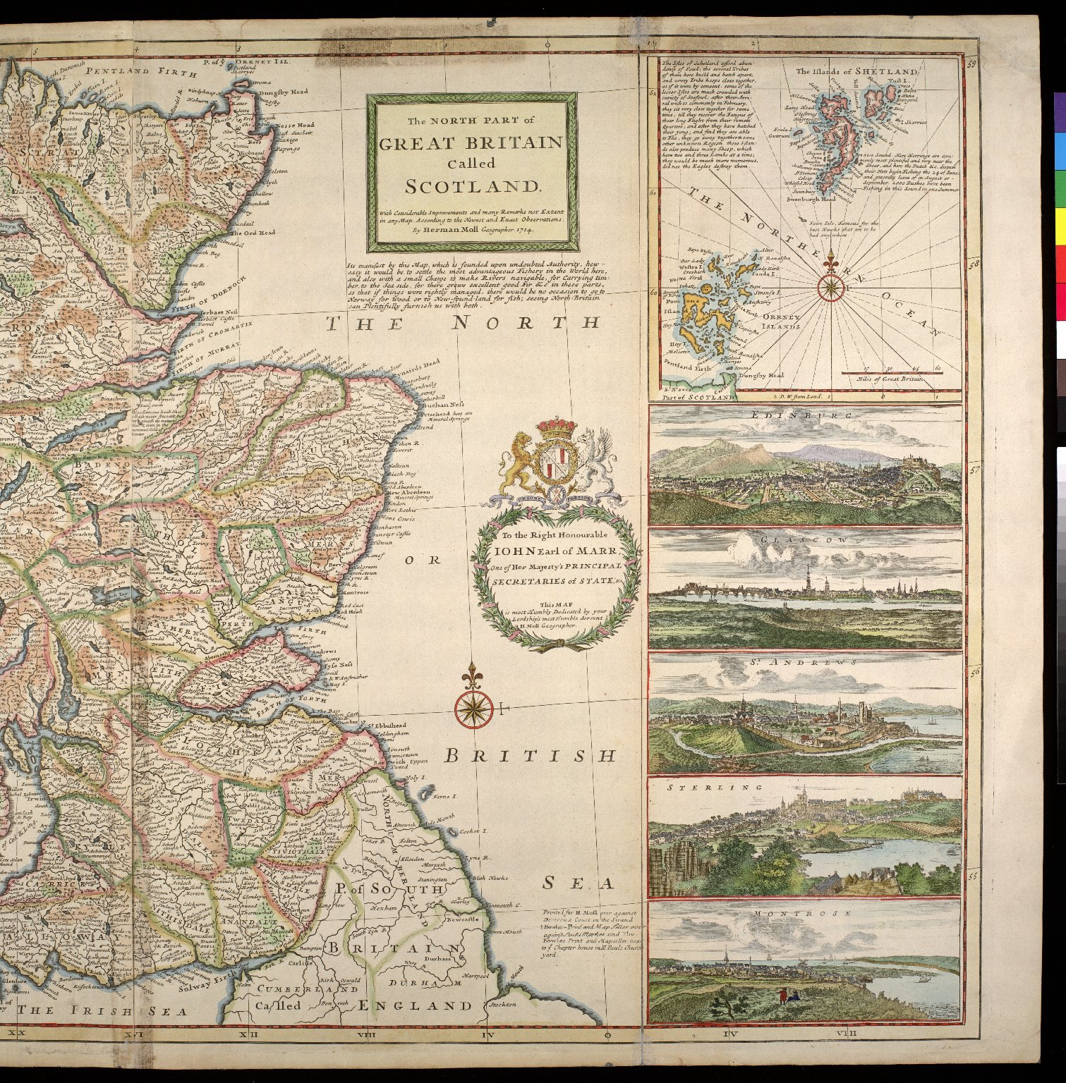The North Part of Great Britain Called Scotland. With Considerable Inprovements and many Remarks not Extant in any Map. According to the Newest and Exact Observations. [2 of 2]