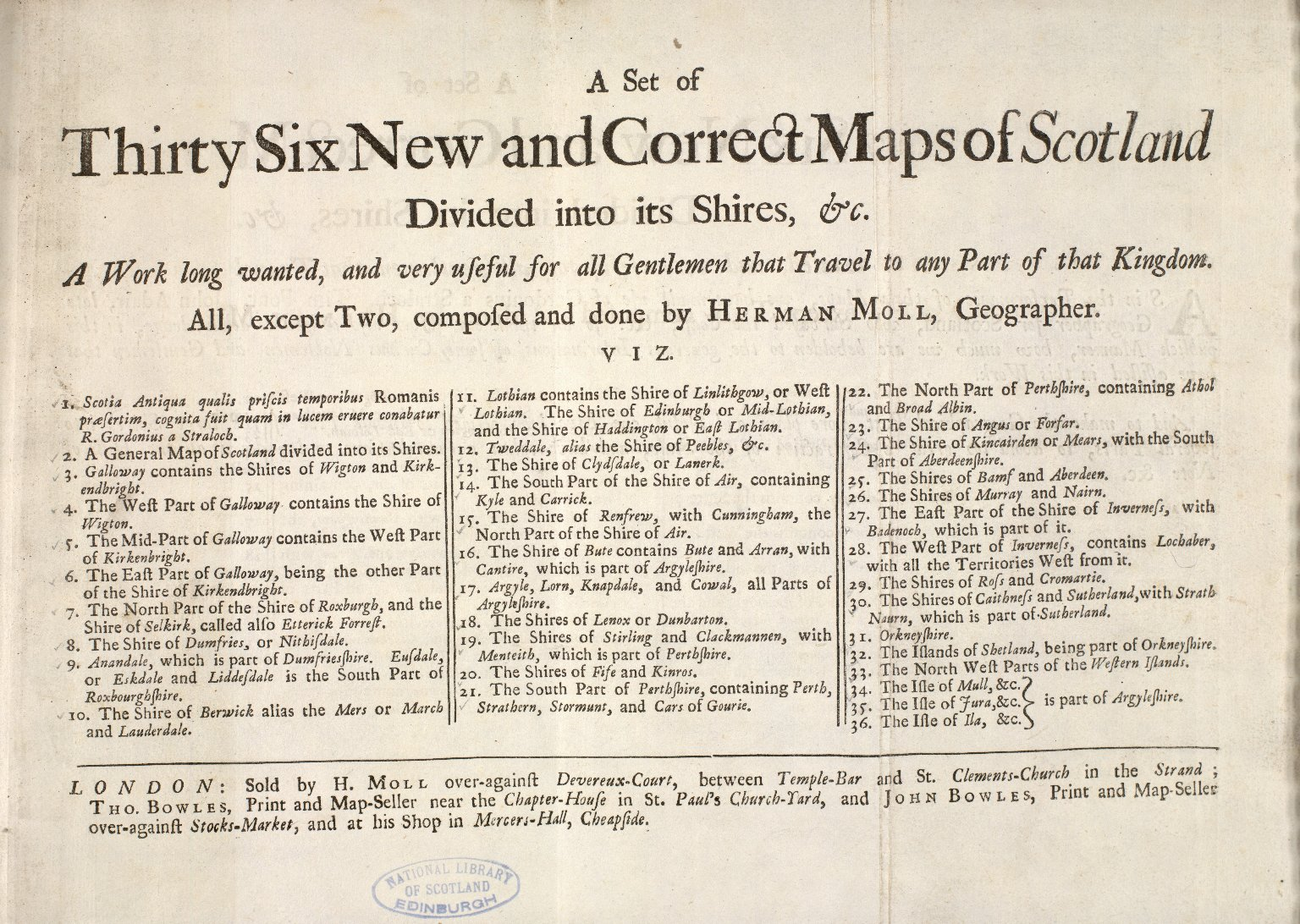 A Set of Thirty Six New and Correct Maps of Scotland Divided into its Shires, &c. [1 of 1]