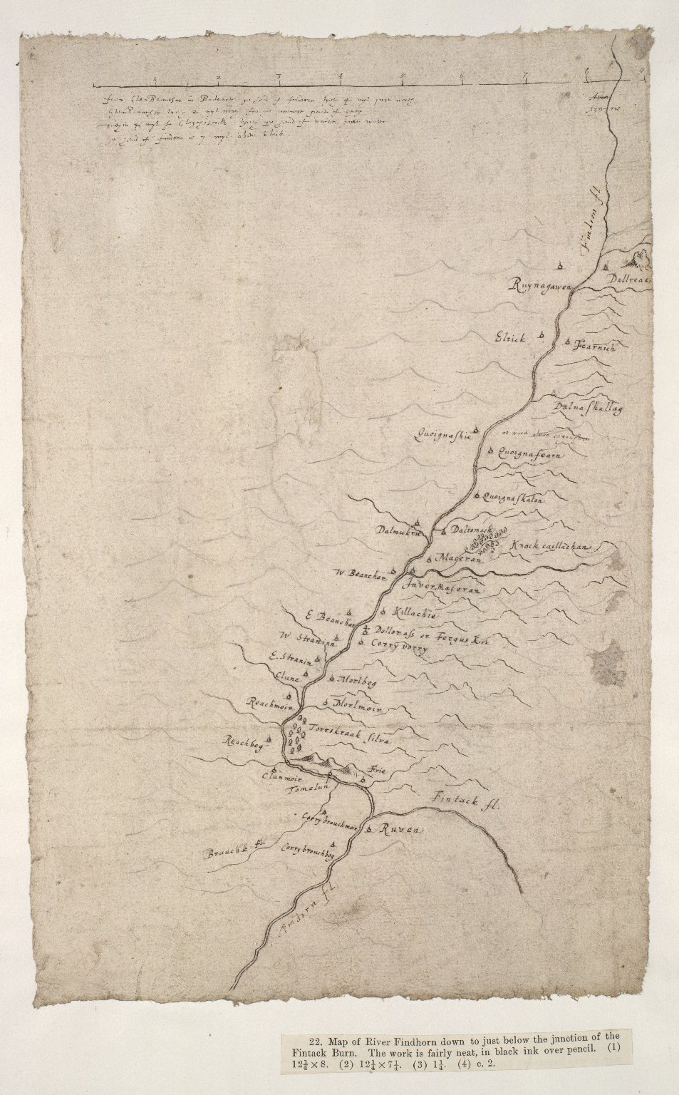 [Map of the River Findhorn down to just below the junction of the Fintack Burn] [1 of 1]