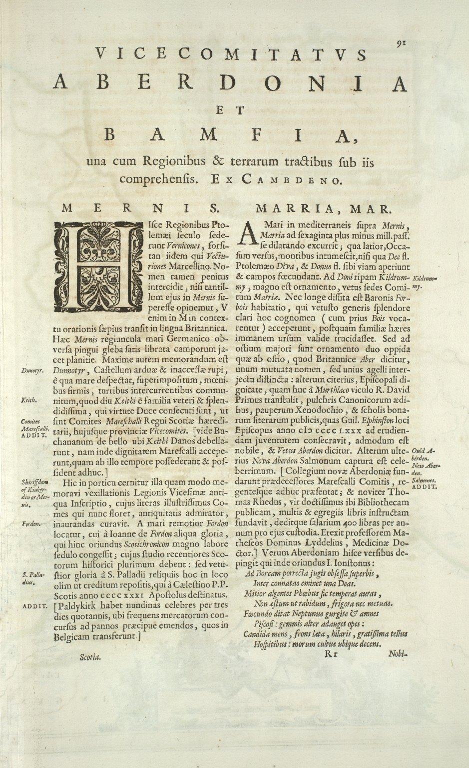 DVO VICECOMITATVS ABERDONIA & BANFIA, Una cum Regionibus & terrarum tractibus sub iis comprehensis. Auctore Roberto Gordonio a Straloch. [1 of 3]