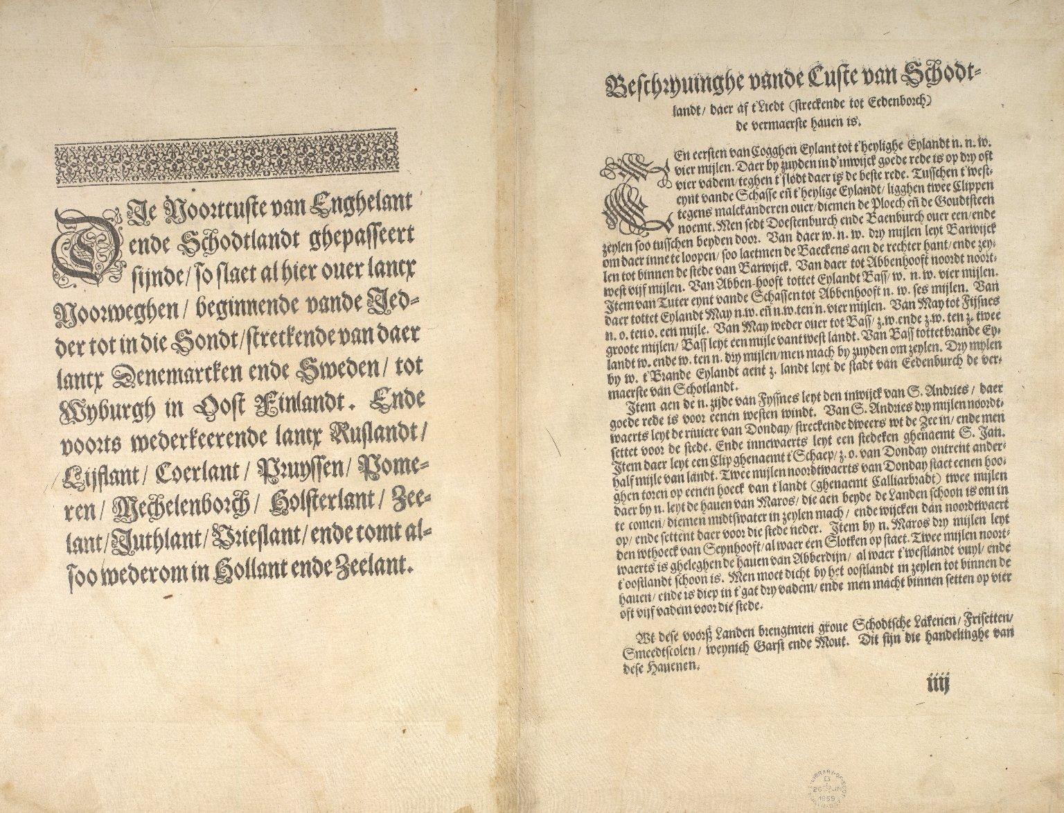 Beschrijvinge van een deel vann Schottlandt van Bambourg tot Aberdein : daer Edenburg de princepaele Coepstat in is, So hem tlant daer 'bthoont, beneffens 2 eylende [2 of 2]