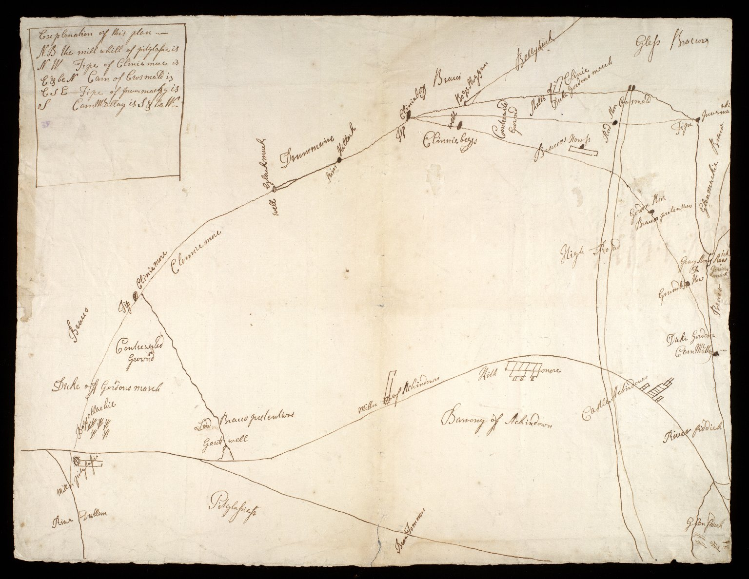 [Sketch plan of barony of Auchindown, relative to march dispute with Lord Braco] [1 of 2]