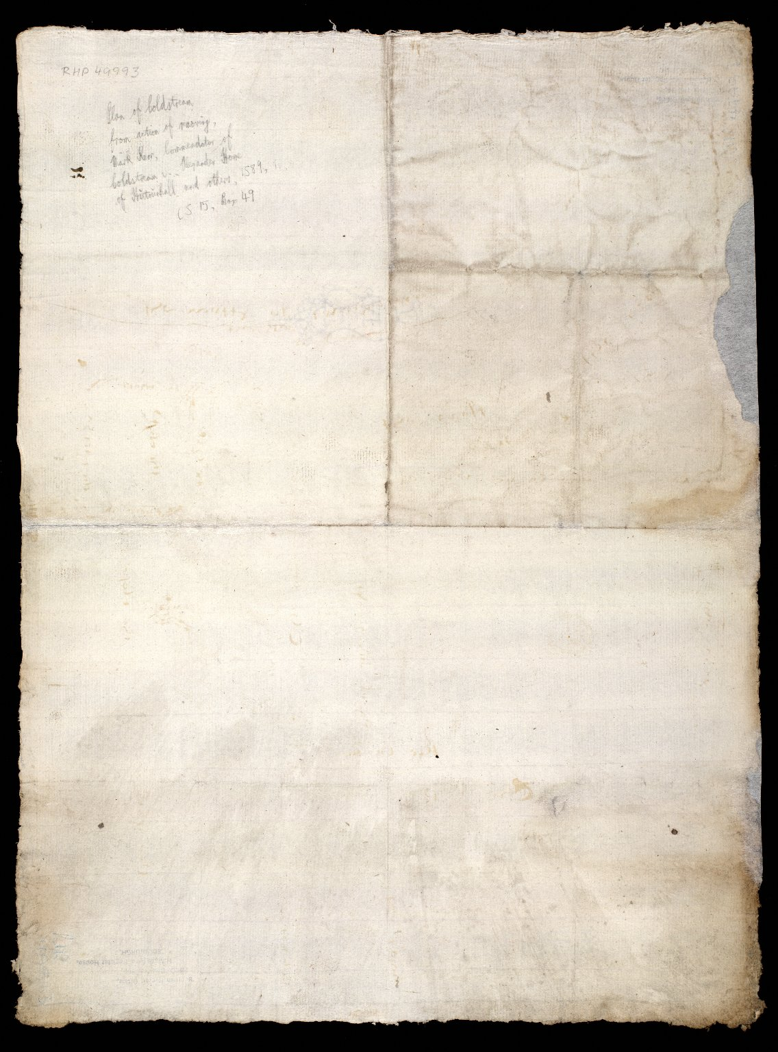 [Plan of Coldstream, from action of removing, Mark Kerr, Comendator of Coldstream, & Alexander Home of Hutounhall, and others, 1589] [2 of 2]
