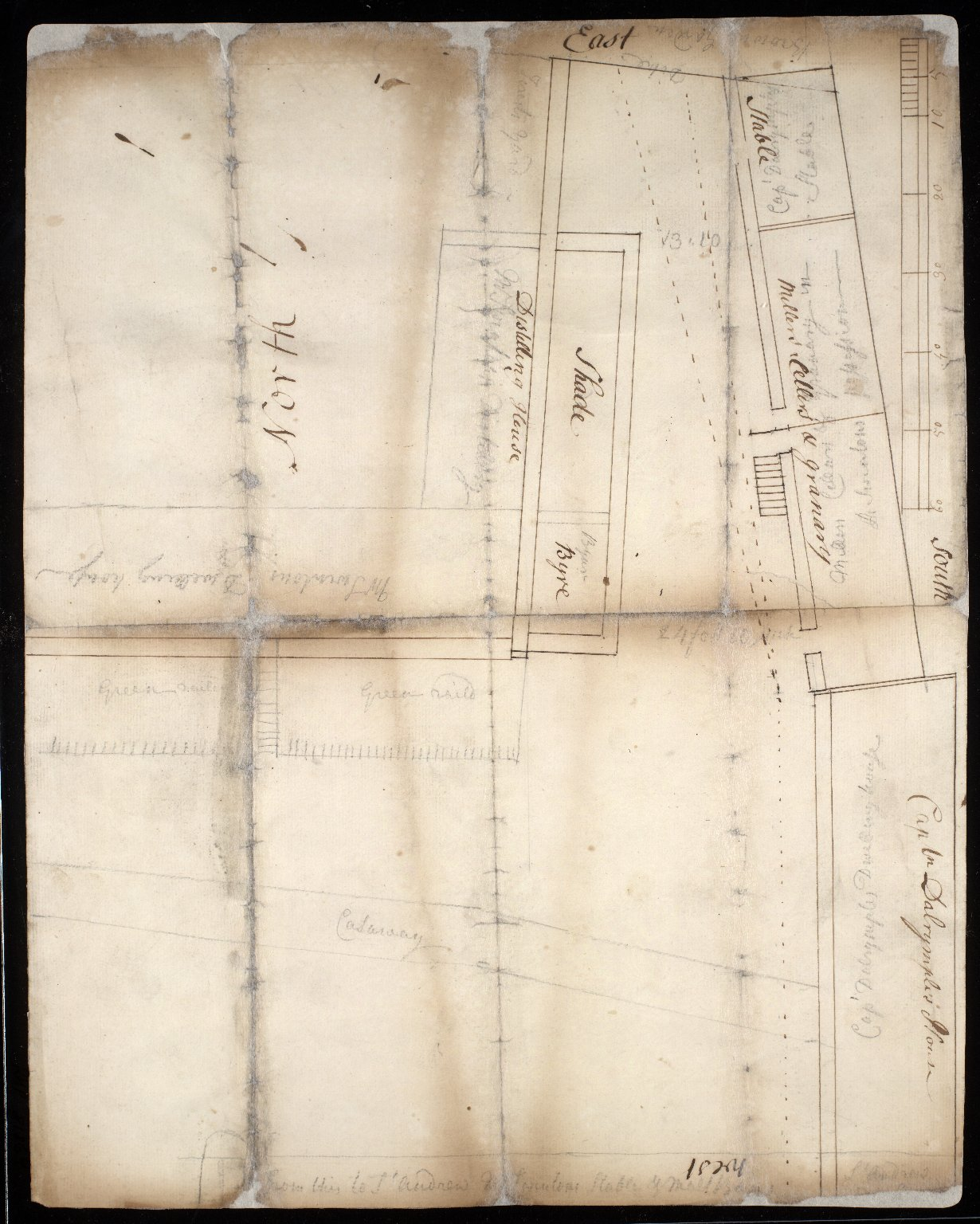 [Sketch plan of properties in North Berwick, East Lothian, including Captain Dalrymple's house and Mr. Swinton's Distillery] [1 of 2]