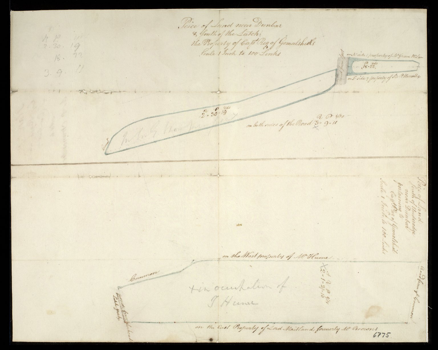 [Plan of two pieces of land near Dunbar, the property of Captain Rig of Gemalsheil] [1 of 1]