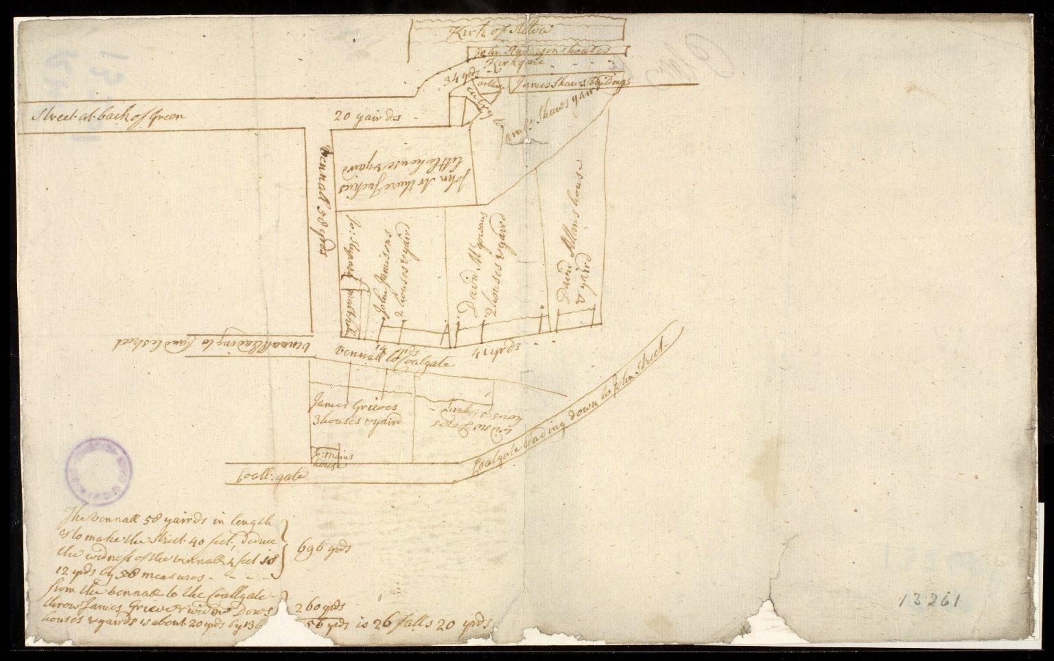 [Sketch plan of property in Alloa between the Kirkgate and the Coalgate] [1 of 1]