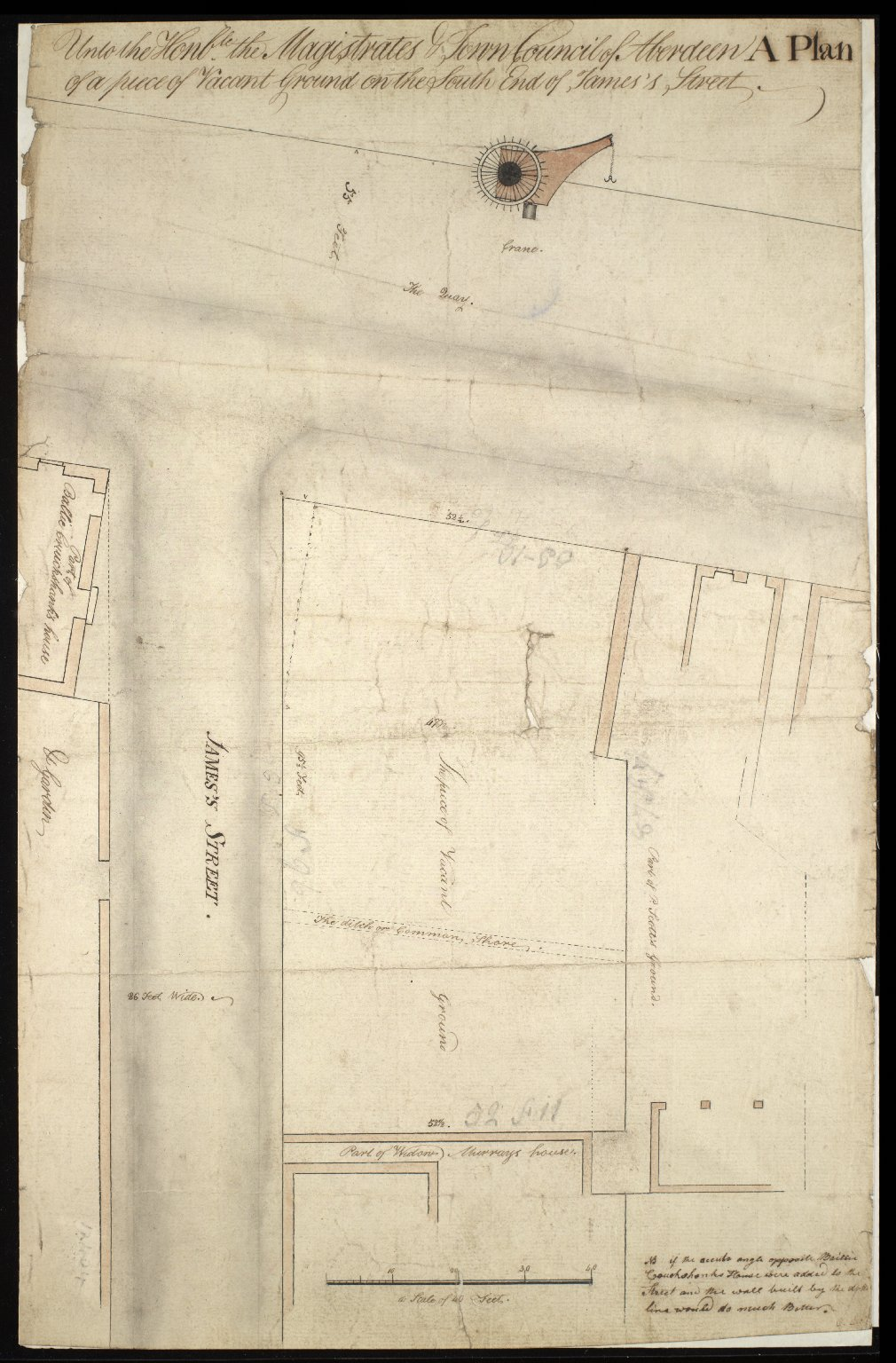 Unto the Honble. [i.e. Honourable] the Magistrates & Town Council of Aberdeen, A Plan of a piece of Vacant Ground on the South End of St. James's Street. [1 of 1]