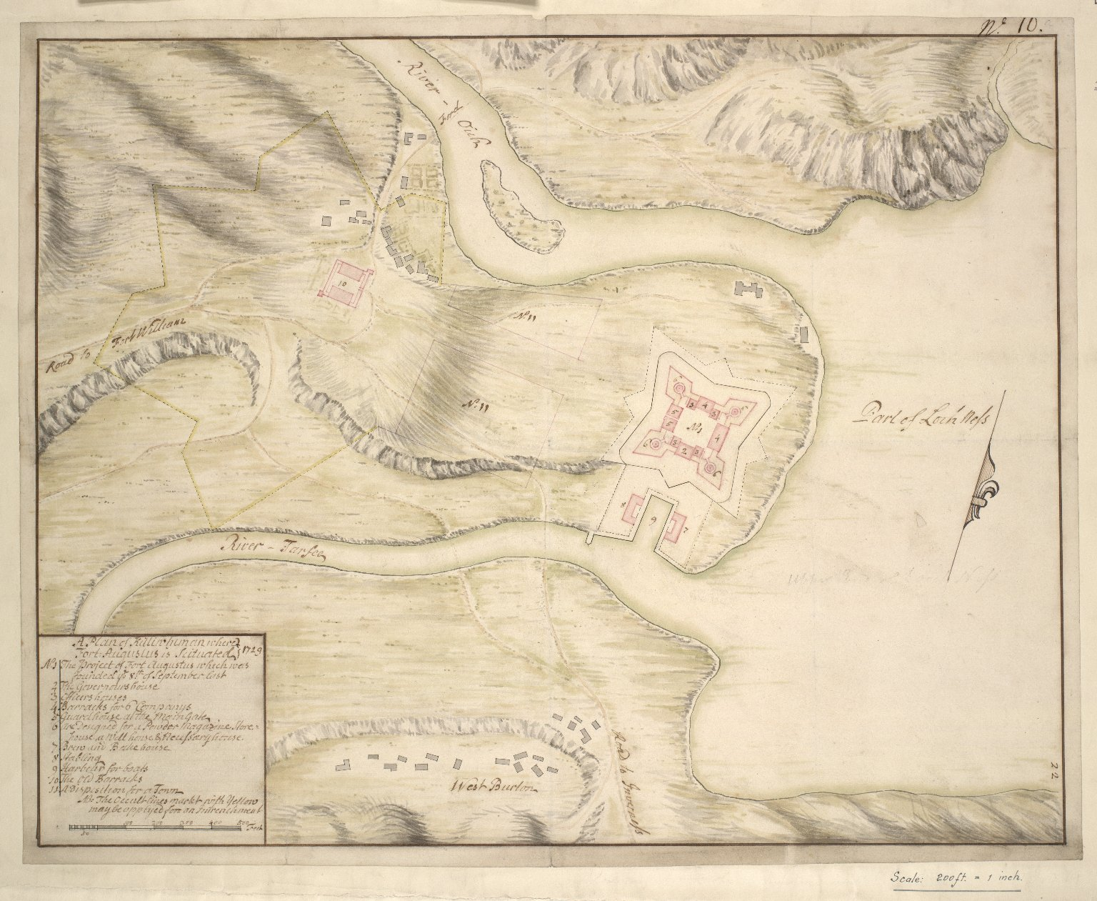 A Plan of Killiwhunan where Fort Augustus is Situated. [1 of 1]