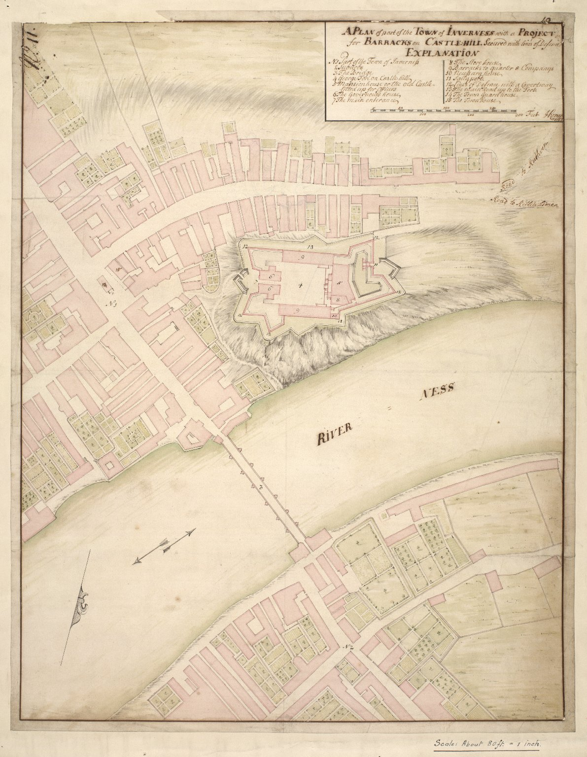 A plan of the Town of Inverness with a project for barracks on Castle Hill, secured with lines of defence [1 of 1]