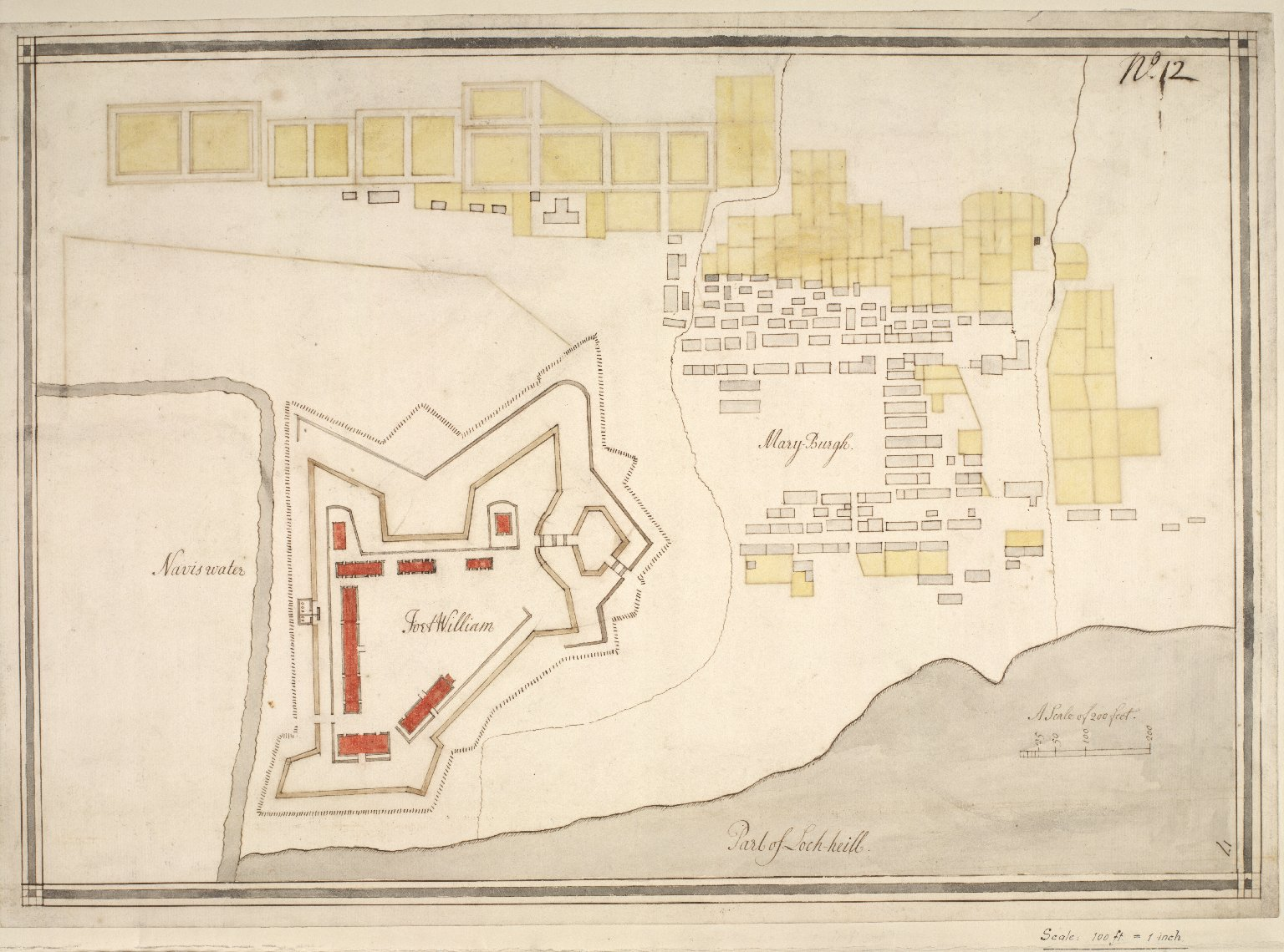 Plan showing fortifications of Fort William and Town of Maryborough. [1 of 1]